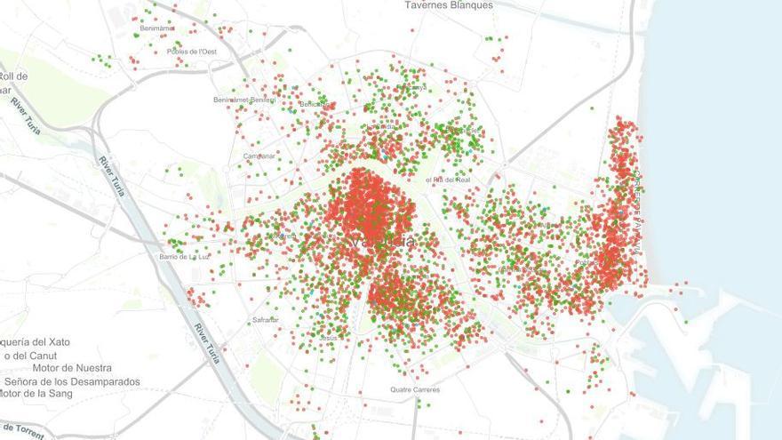 Mapa de los Airbnb en la ciudad de Valencia
