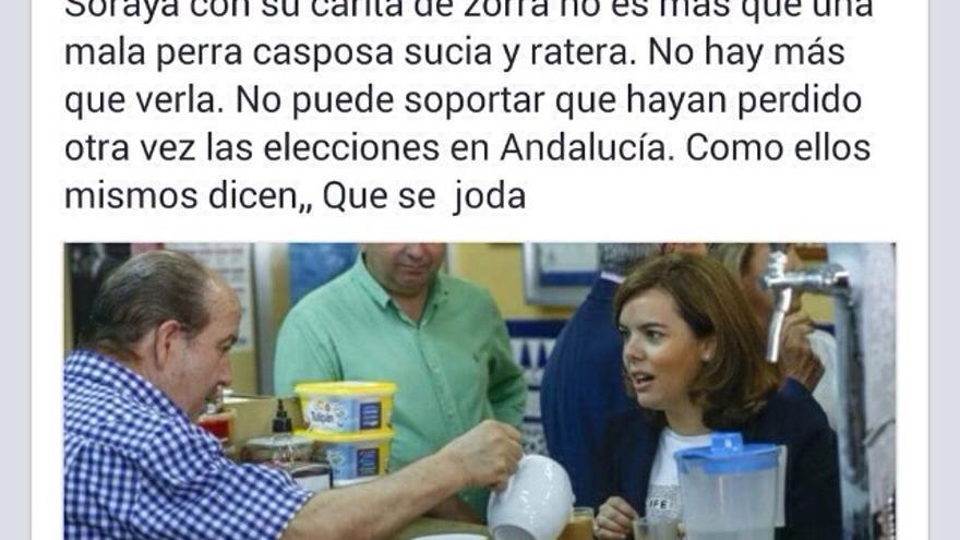 El comentario insultante a Sáenz de Santamaría publicado este lunes en su perfil.