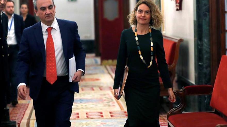 La presidenta del Congreso Meritxell Batet, a su llegada este jueves a la reunión de la Mesa del Congreso de los Diputados.