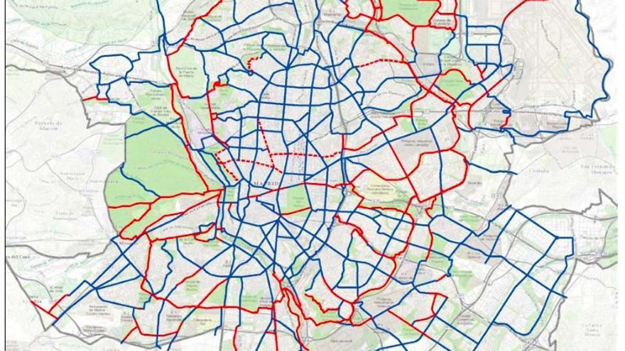 Este podría ser el plano de itinerarios ciclistas de Madrid en 2025 si se cumple el PDMC. Casi todo por hacer.