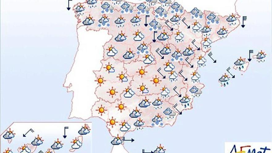 Hoy, nevadas en cotas bajas y viento fuerte en montañas, islas y litorales