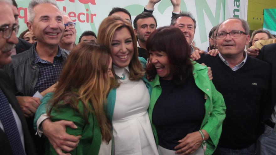 Susana Díaz, celebrando la victoria del 22 de marzo / Foto: Luis Serrano