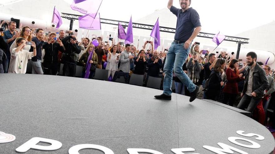 El líder de Unidas Podemos, Pablo Iglesias, durante un acto de la última campaña electoral EFE/Nacho Gallego/Archivo