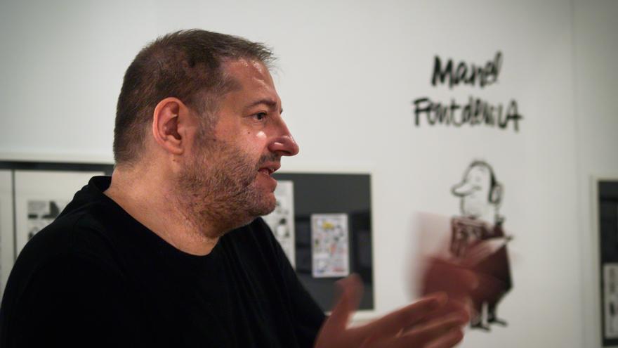 El dibujante Manel Fontdevila, durante su visita a Pamplona / Foto: Boutade Comunicación.