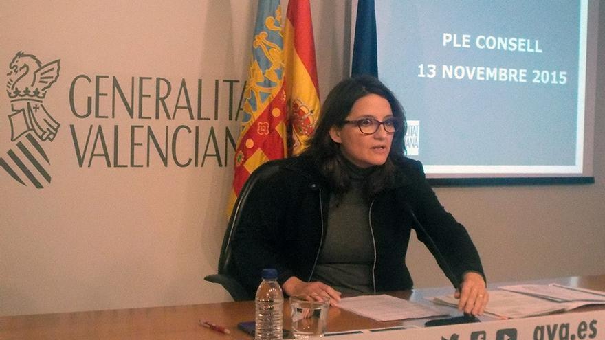 La vicepresidenta Mónica Oltra da cuenta de los asuntos tratados en el pleno del Consell en rueda de prensa