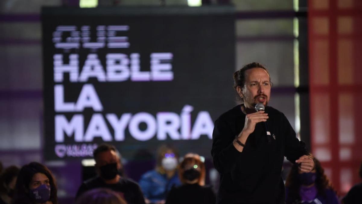 El candidato de Unidas Podemos el 4M, Pablo Iglesias, durante un acto este sabado.
