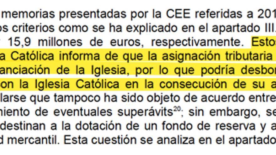 Uno de los extractos del informe del Tribunal de Cuentas
