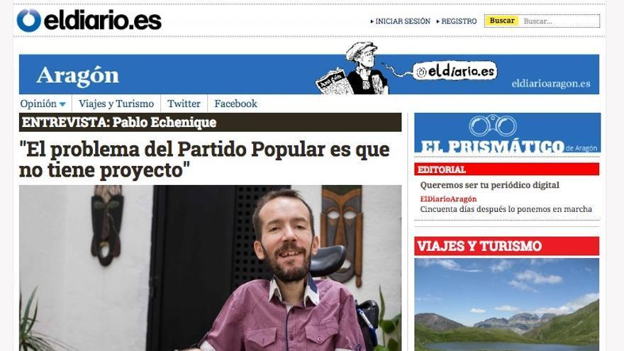 Primera portada de eldiario.es/Aragon, 22 de abril de 2015.