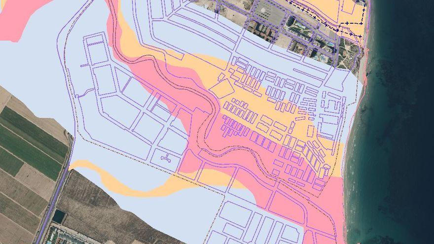 Niveles de peligrosidad por inundación en Orihuela (Alicante) según el Instituto Cartográfico de la Generalitat