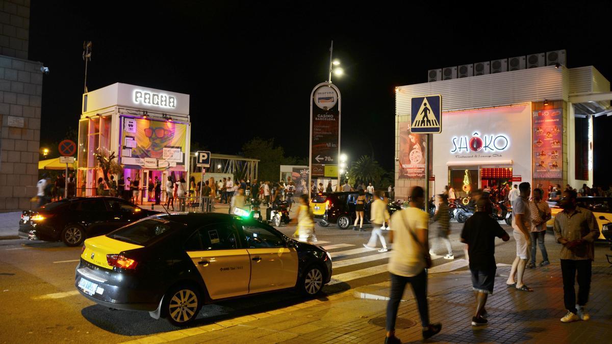 La entrada de las discotecas Shoko y Pachá, situadas en el Frente Marítimo de Barcelona.
