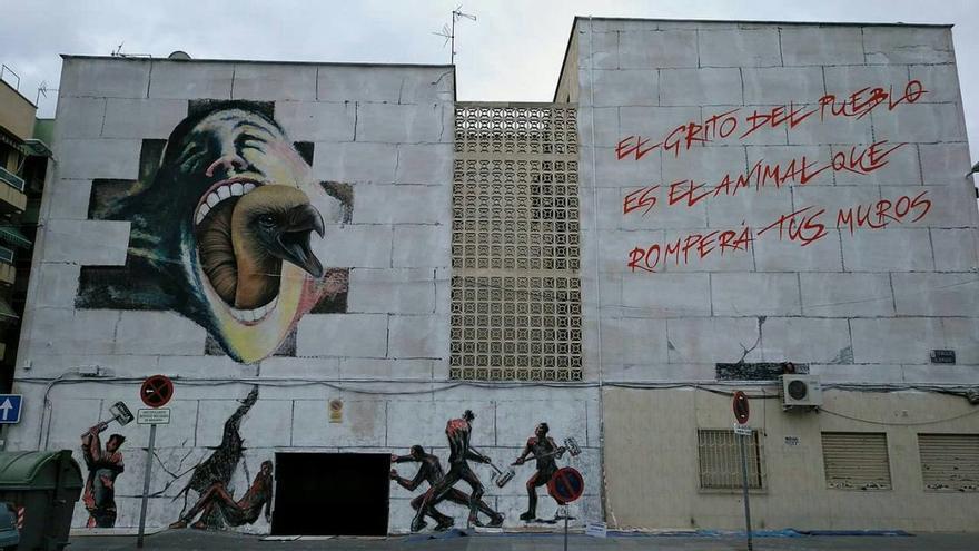 Mural en apoyo al movimiento Pro Soterramiento