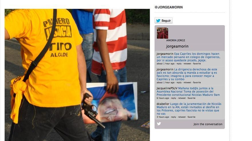 Imagen de un supuesto miembro de un grupo armado chavista, publicado en septiembre de 2012 por lahojillaentv.com.