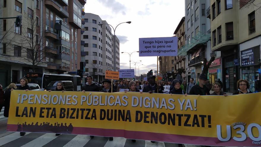 Manifestación por las calles de Pamplona