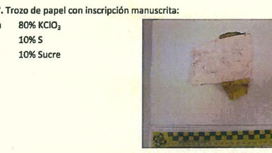 Trozo de papel con inscripción manuscrita.