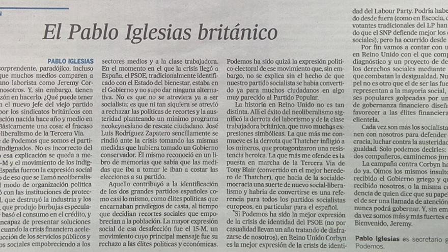 Pablo Iglesias sobre Corbyn en El País