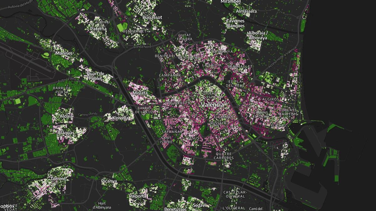 La ciudad de València, en colores según si su construcción es en altura (morado) o en unifamiliares y adosados (verde).