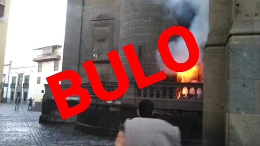 Imagen del vídeo que ha circulado sobre el incendio en la catedral de Santa Ana, en Las Palmas de Gran Canaria
