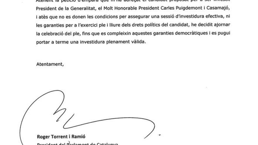 Torrent comunica por carta a los grupos el aplazamiento del pleno de investidura
