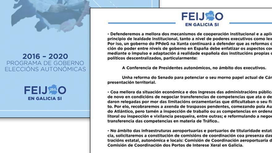 Referencias a las transferencias en el programa electoral del PP gallego