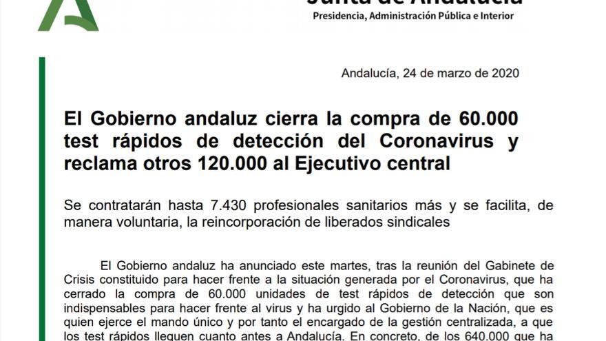 Nota de prensa de la Junta de Andalucía, difundida el 24 de marzo, anunciando la compra de 60.000 test rápidos.
