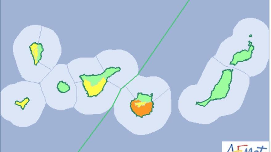 Mapa de la Aemet del aviso del riesgo por temperaturas máximas este este domingo, 18 de agosto de 2019.