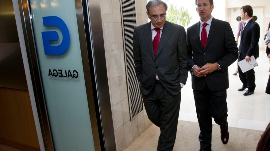Sánchez Izquierdo, junto a Núñez Feijóo en la sede de la CRTVG