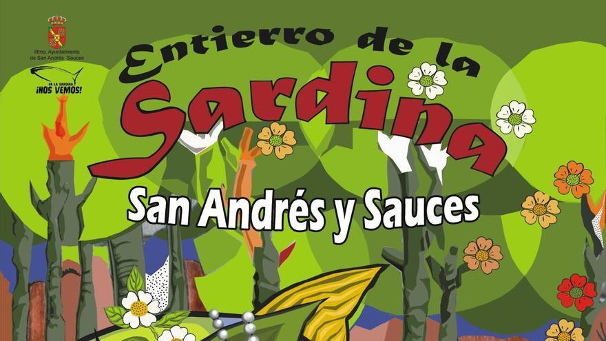Cartel Anunciador del Entierro de la Sardina de San Andrés y Sauces de 2017. Autoras: María Pilar Blanco y Beatriz Muñoz Cobo.