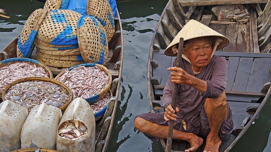 Vendedora de pescado en el mercado del Thu Bon, en Hoi An. Jean-Marie Hullot (CC)