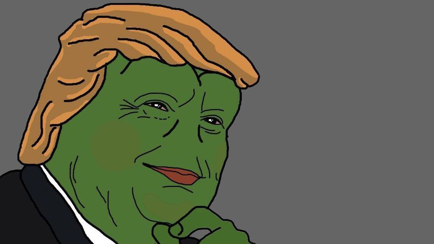 Trump y la Rana Pepe, imagen usada por los trols de ultra-derecha en Estados Unidos.