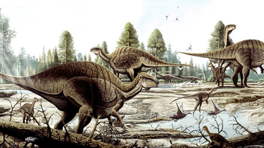 Ilustración de un ecosistema del periodo Cretácico. En primer plano, un Iguanodon con su característico pulgar terminado en una garra con forma de cono (Ilustración: Juanjo Castellano)