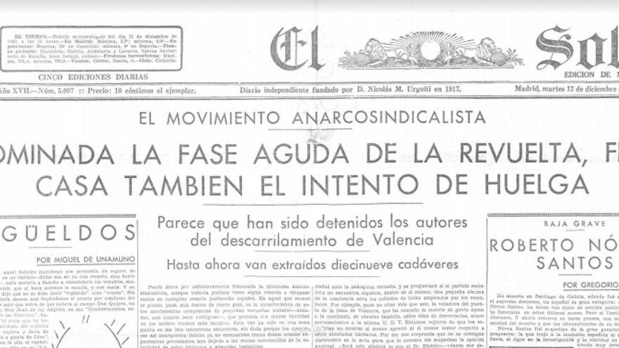 El diario 'El Sol' relata la sublevación de Villanueva y otros casos de insurrección en otros puntos del país
