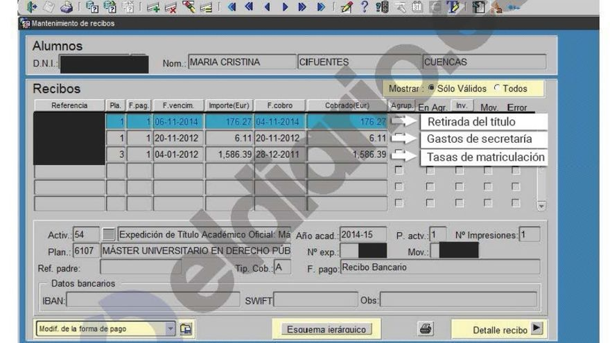El registro que muestra los pagos de Cifuentes. NInguno es una matrícula en 2014