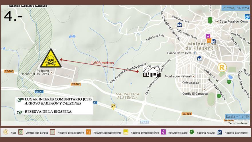 Mapa con la ubicación de la nueva industria de residuos tóxicos y peligrosos en Malpartida de Plasencia