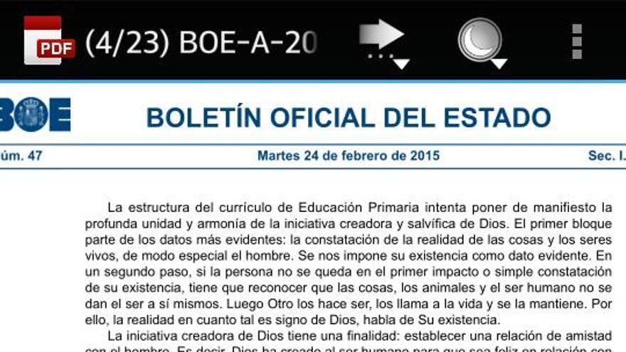 El Boletín Oficial del Estado del 24 de febrero.