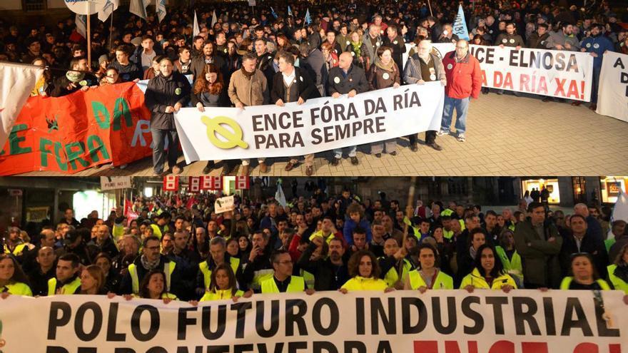 Manifestación por la marcha de ENCE de la ría (arriba) y protesta del personal contra un posible cierre (abajo)