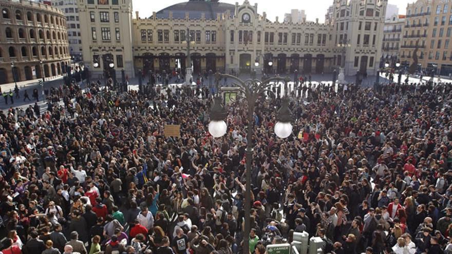 """Manifestació de la """"primavera valenciana"""" el 2012."""