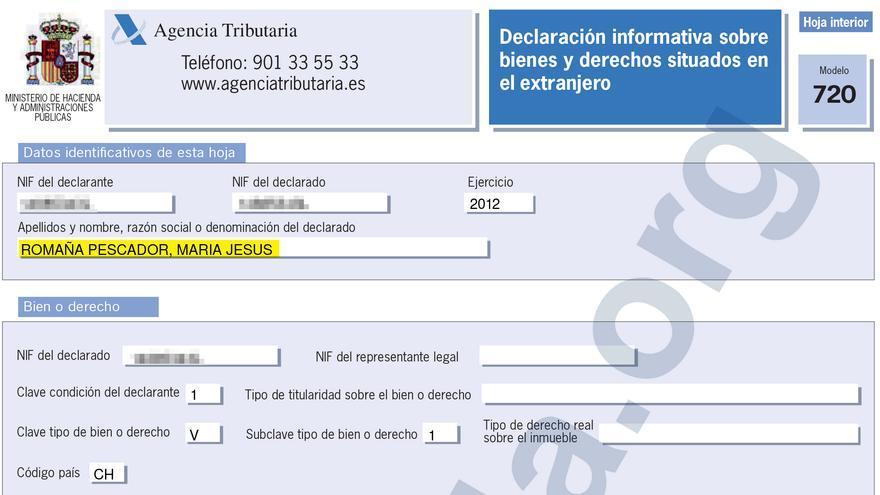 Modelo 720 para presentar los bienes en el extranjero, presentado por María Jesús Romaña para el ejercicio 2012