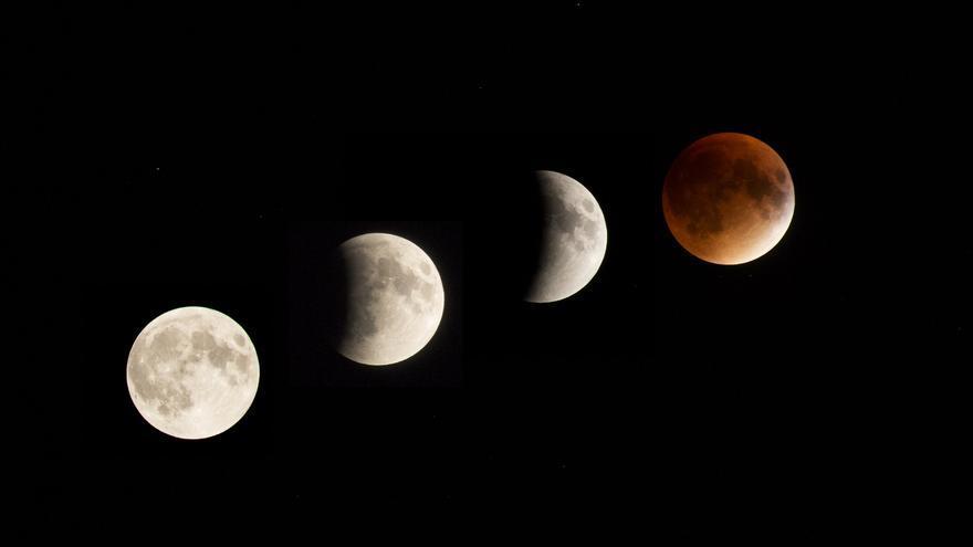 Las distintas fases de un eclipse lunar penumbral. liz west