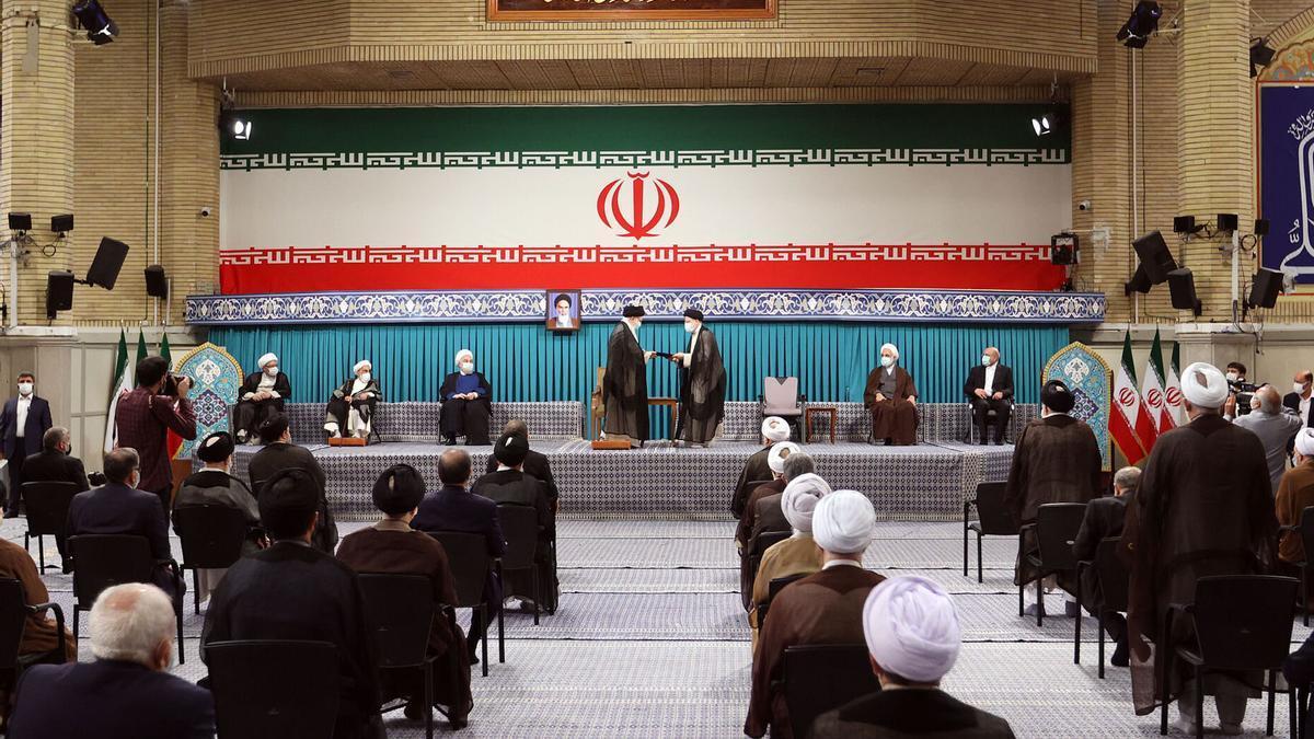 Imagen de la ceremonia de investidura del nuevo presiente de Irán, Ebrahim Raisi, este martes