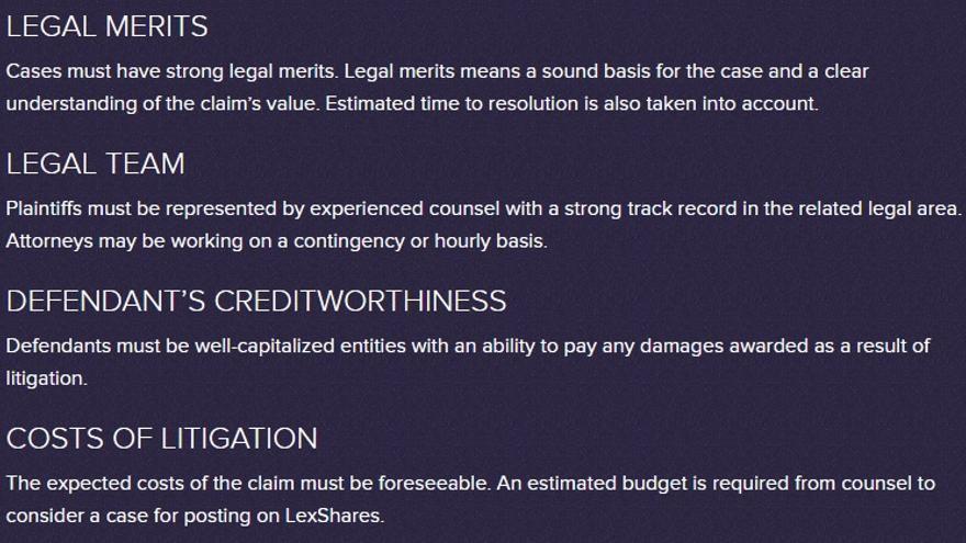Condiciones que se examinan para aceptar una demanda en LexShares