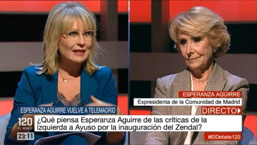 María Rey ante Esperanza Aguirre en '120 Minutos. El debate'