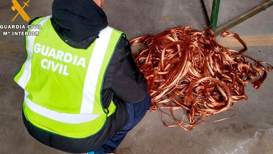 Imagen de archivo de cobre robado que ha intervenido la Guardia Civil.