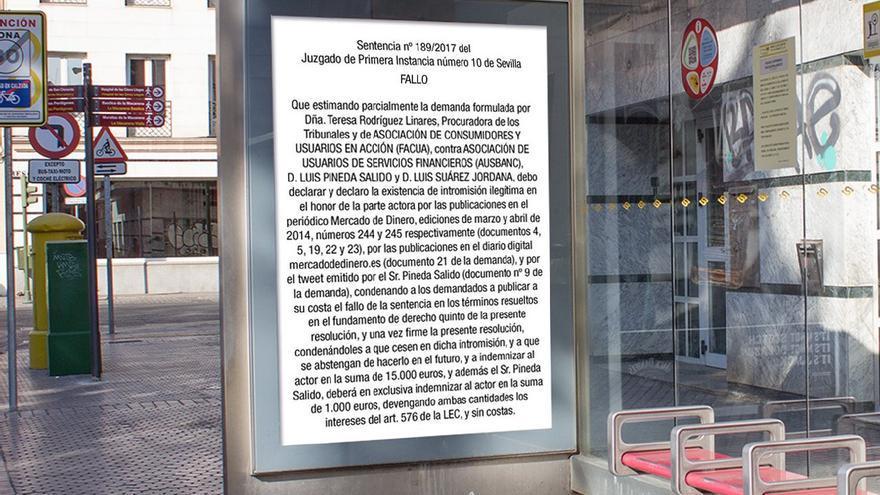 Montaje del cartel que deberá publicar Luis Pineda.