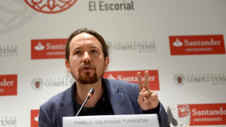Pablo Iglesias, en la clausura del curso de verano de El Escorial organizado por Podemos.