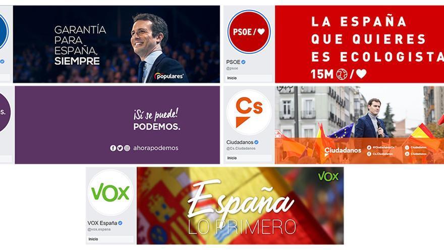 Las imágenes de los perfiles de PP, PSOE, Podemos, Ciudadanos y Vox en facebook