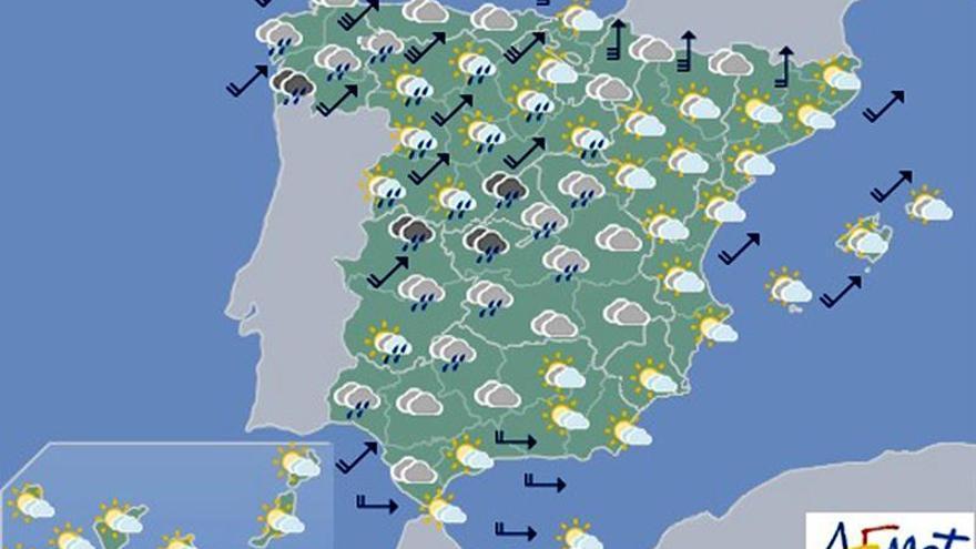 Hoy, lluvias persistentes en Galicia, Extremadura y sistema Central