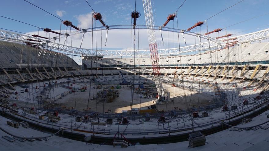 Cubierta del nuevo estadio del Atlético de Madrid