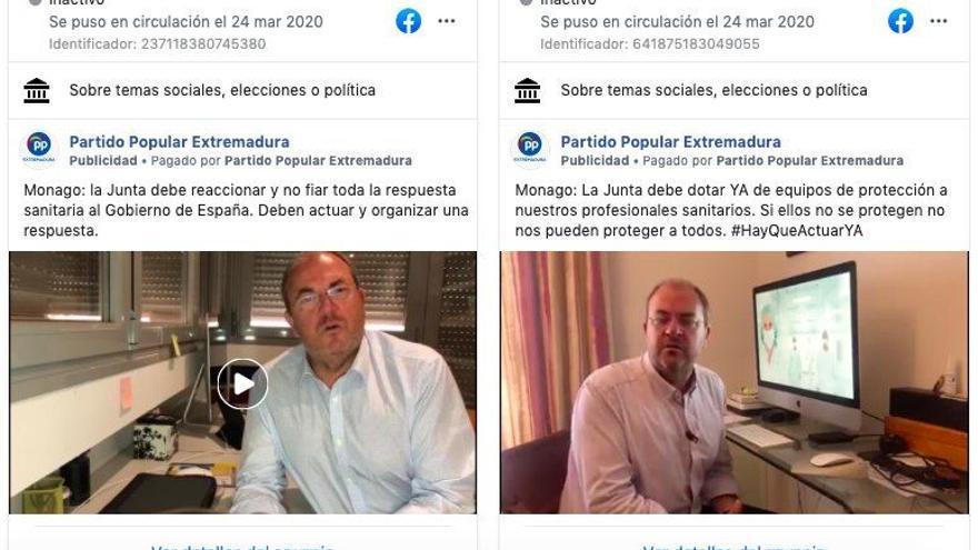Dos de los primeros anuncios en Facebook pagados por Monago, del 24 de marzo