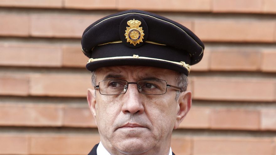 El nuevo Comisario general de Seguridad Ciudadana, Florentino Villabona, durante el acto de toma de posesión la nueva Junta de Gobierno de la Policía Nacional en el Complejo Policial de Canillas. EFE/Ballesteros/yv