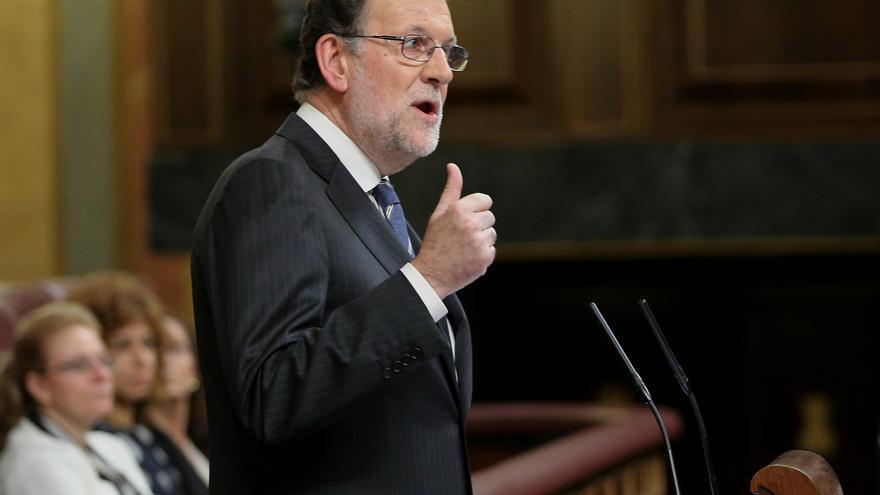 Mariano Rajoy, en la tribuna del Congreso de los Diputados durante su discurso de investidura, este 26 de octubre de 2016.